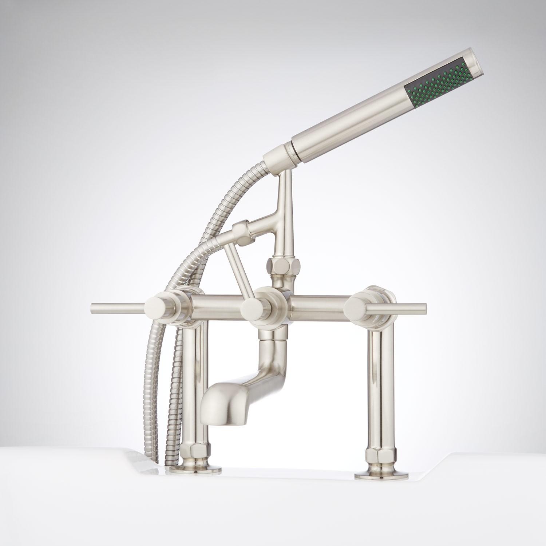 Ideas, whittington deck mount tub faucet and hand shower lever handles regarding measurements 1500 x 1500  .