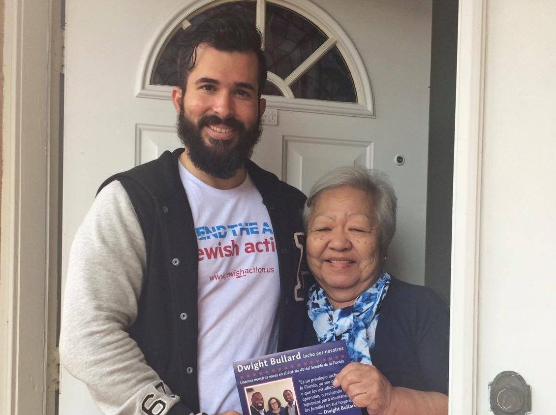 Bend the Arc canvassers doorknocking on Oct 30, 2016 in Philadelphia, Reno, Miami and more. Photo courtesy Bend the Arc.