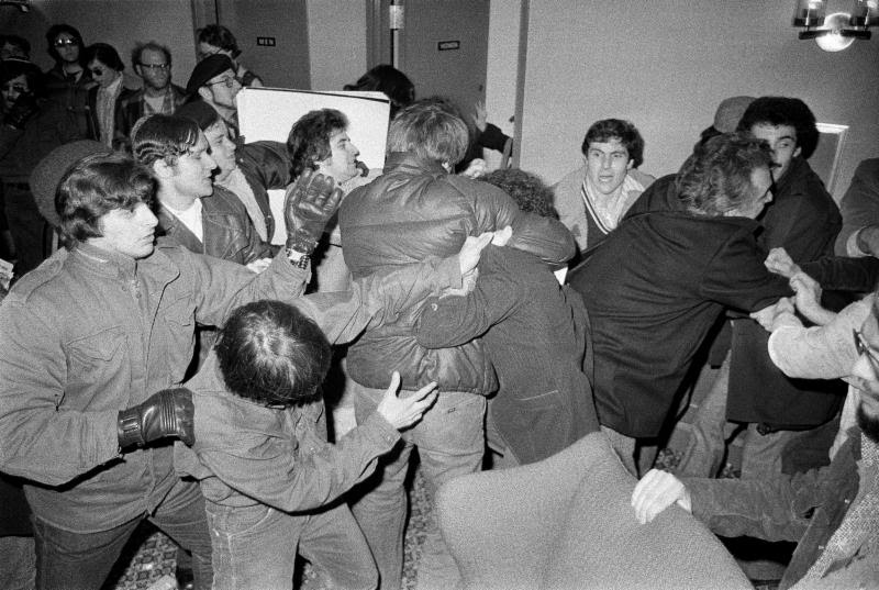 A fight breaks out with the JDL at the Breira Conference in February 1977, Photo credit Bill Aron