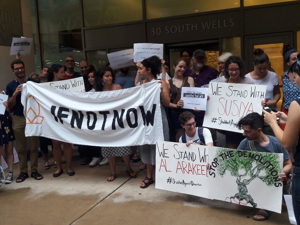 Chicago #IfNotNow rallies outisde the Jewish federation for #ShabbatAgainstDemolition