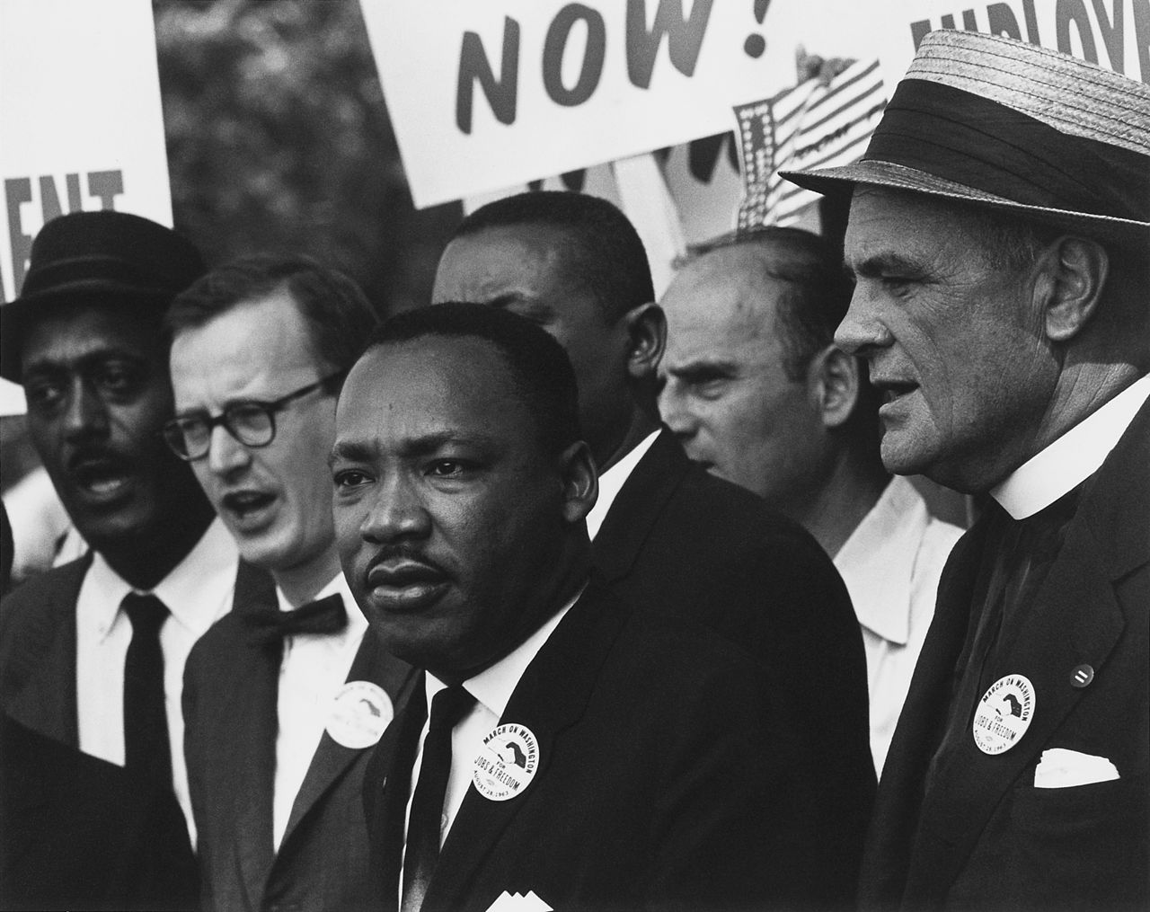 Civil Rights March on Washington, D.C. (Dr. Martin Luther King, Jr. and Mathew Ahmann in a crowd.) - National Archives and Records Administration - 542015 - Restoration