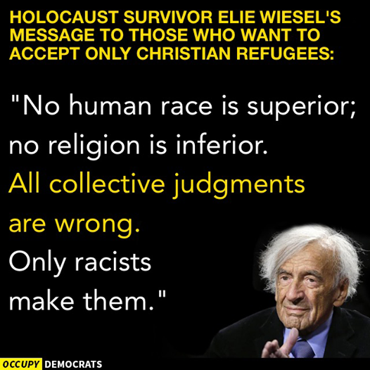 Elie Weisel on Syrian refugees