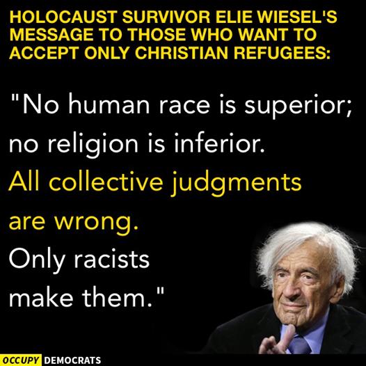 Elie Weisel on Syrian refugees