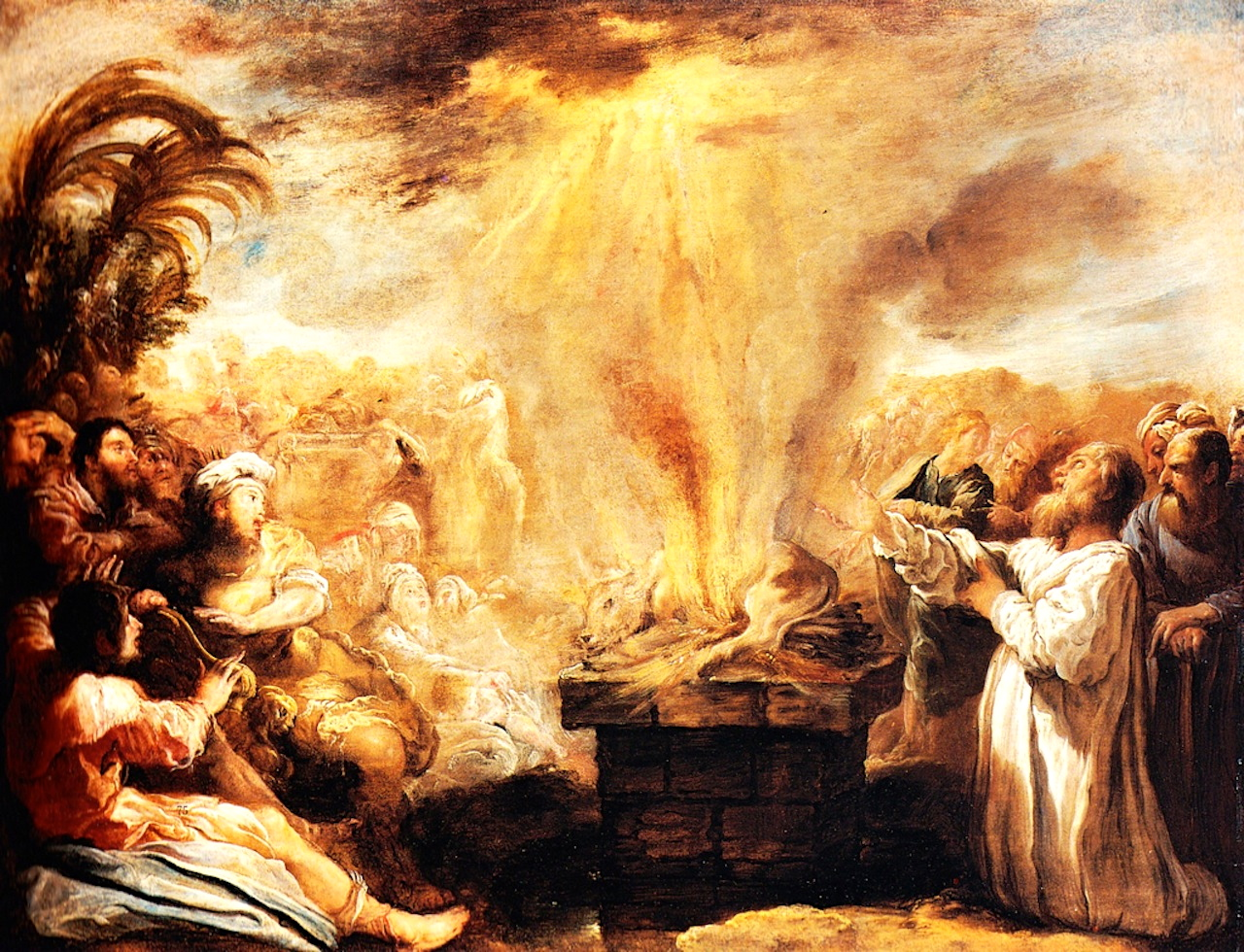 The aroma of burnt offerings is pleasing to the lord.] The Triumph of Elijah Over the Prophets of Baal by Domenico Fetti (circa 1622) Public Domain
