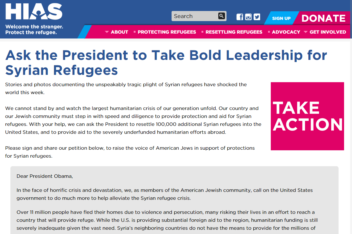 HIAS petition on Syrian refugees to White House