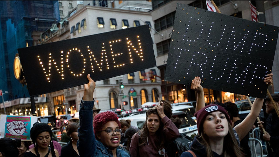 Women marching in protest on Inauguration Day