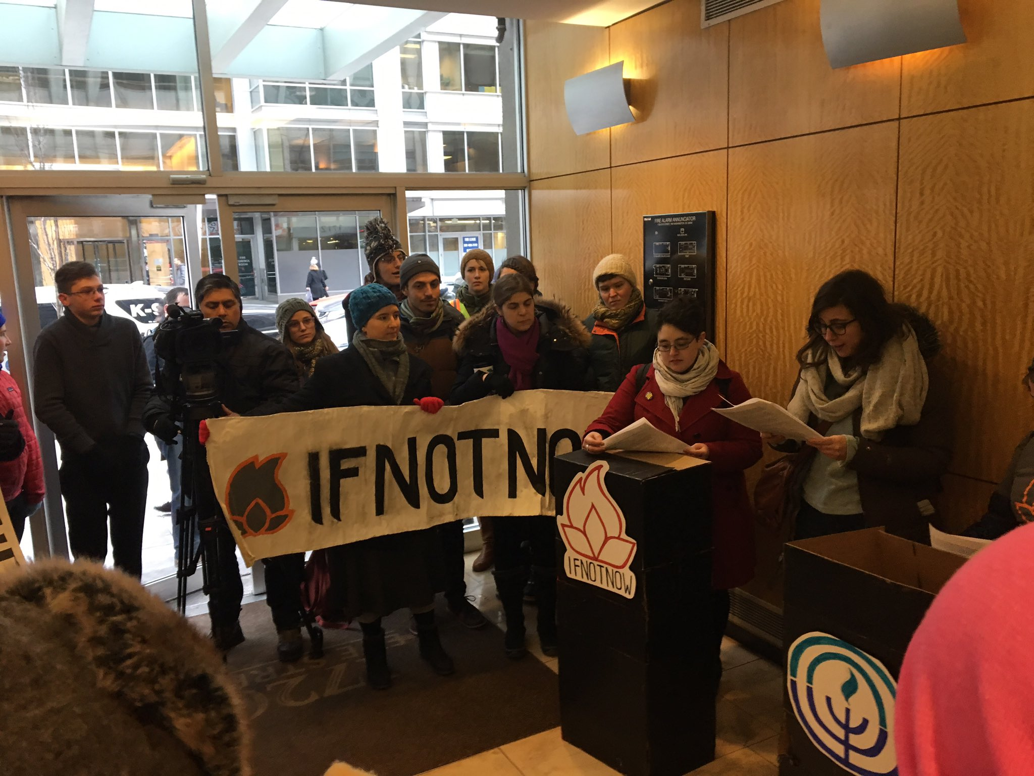 IfNotNow stages protest theater in JFNA's lobby on January 9, 2017, photo by twitter user Ethan Miller