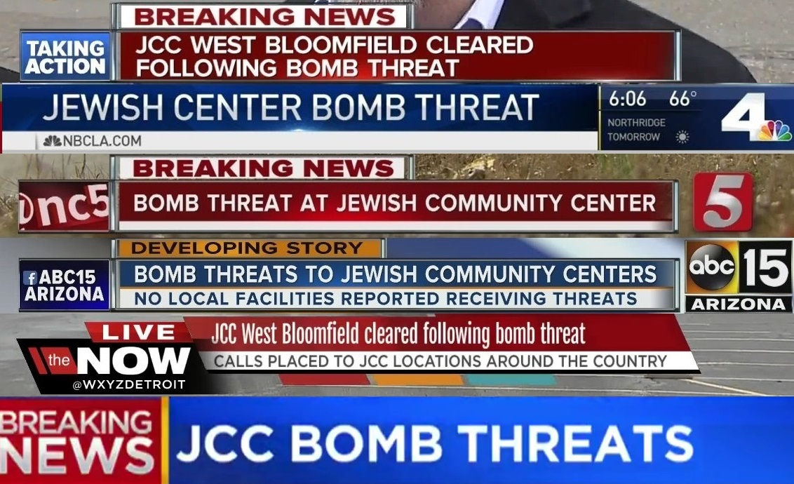 JCC bomb threats cryon mashup -- anti-semitism and anti-Jewish oppression on display