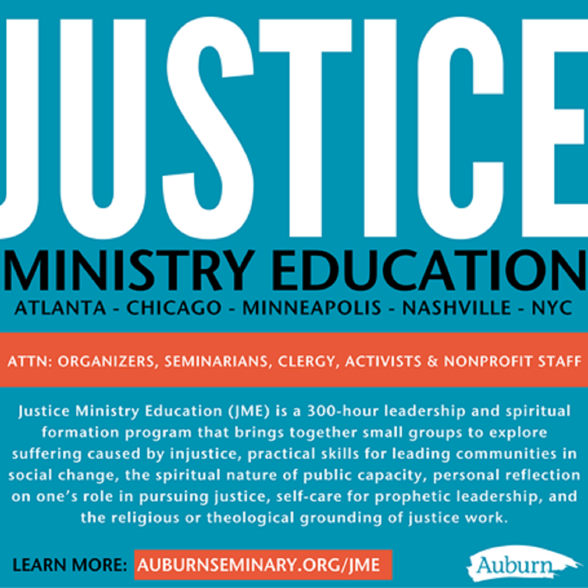Justice Ministry Education certificate from Auburn Seminary