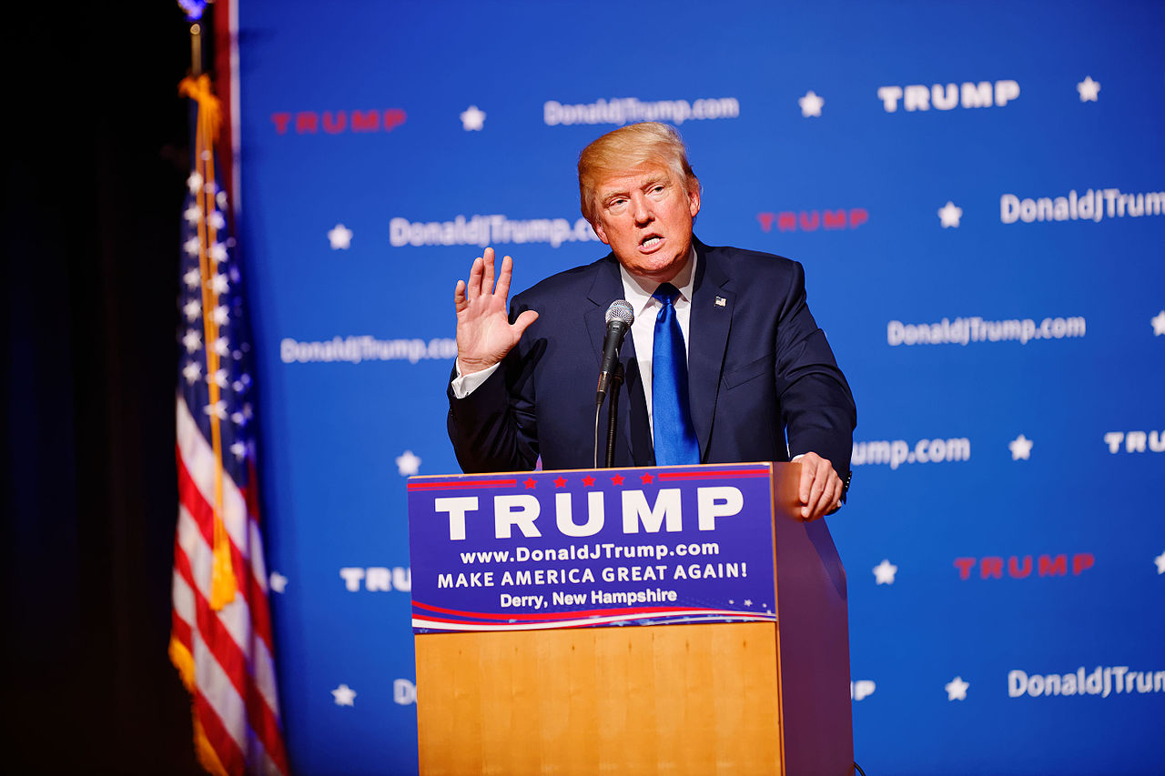 Donald Trump New Hampshire Town Hall on August 19th, 2015 at Pinkerton Academy, Derry, NH by Michael Vadon via Wikipedia Commons