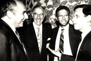 From left to right: Faisal Husseini, Head of the Palestinian negotiating team; Robert K. Lifton, President of the American Jewish Congress; Thomas R. Smerling, Executive Director of Project Nishma; Steven Grossman, President of the American Isreal Public Affairs Committee, at the signing reception organized by Project Nishma.