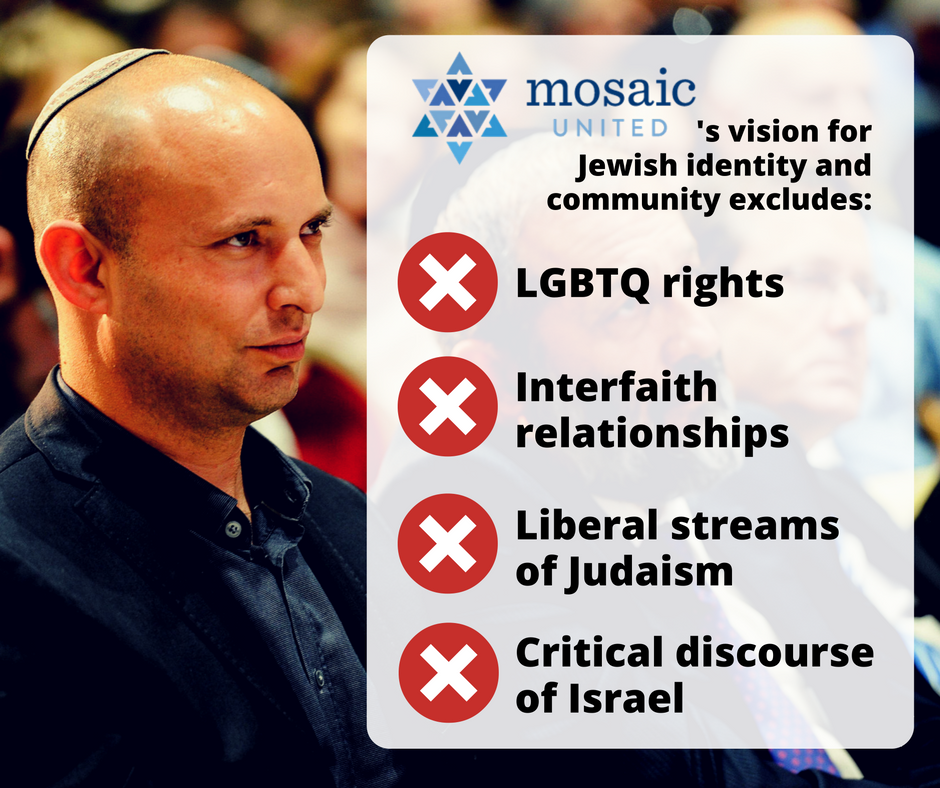 Mosaic United's vision of Jewish identity and community excludes LGBTQ rights, interfaith relationships, liberal Judaism, and critical discourse of Israel.