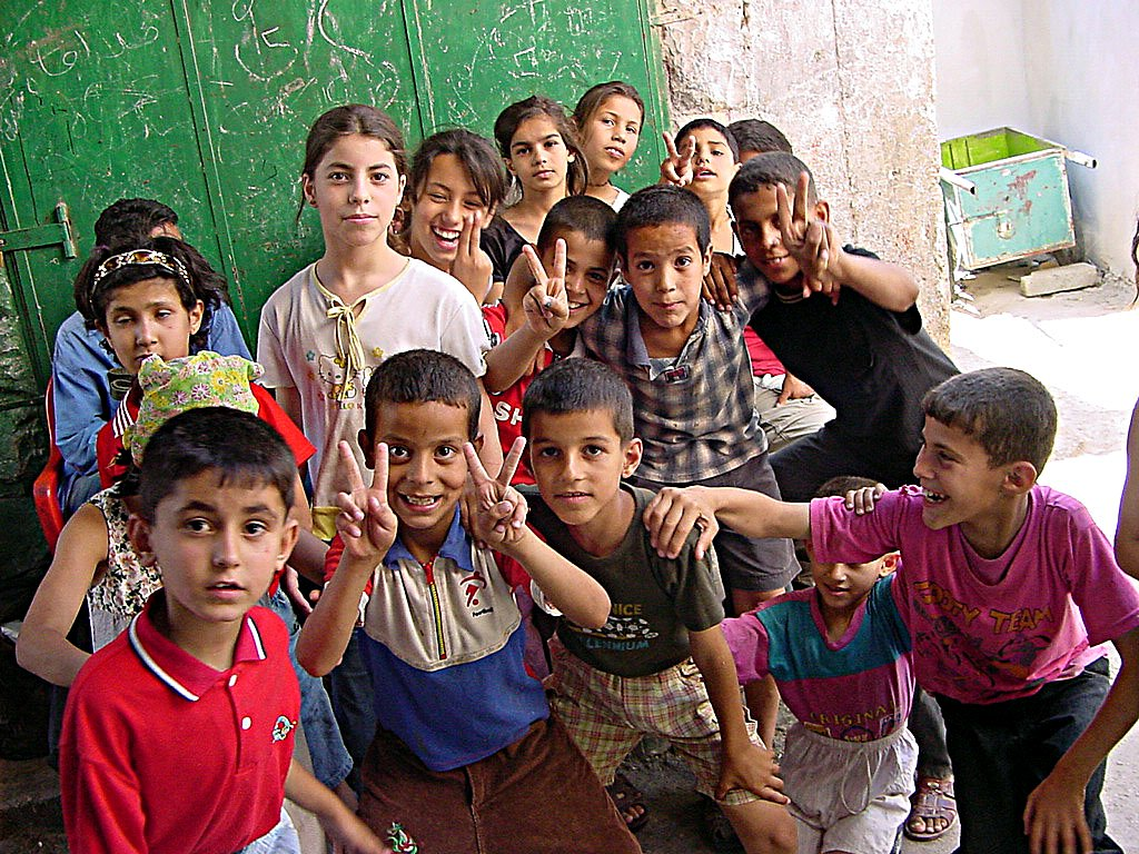 Palestinian children in Jenin, via Wikipedia Commons