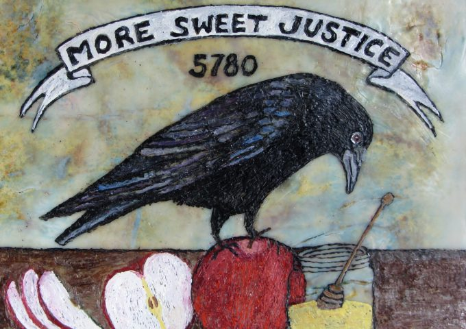 """The cover image of the 5780 Radical Jewish Calendar, featuring the text """"More Sweet Justice 5780"""" over a painting of a black bird perched on tables, looking at honey."""