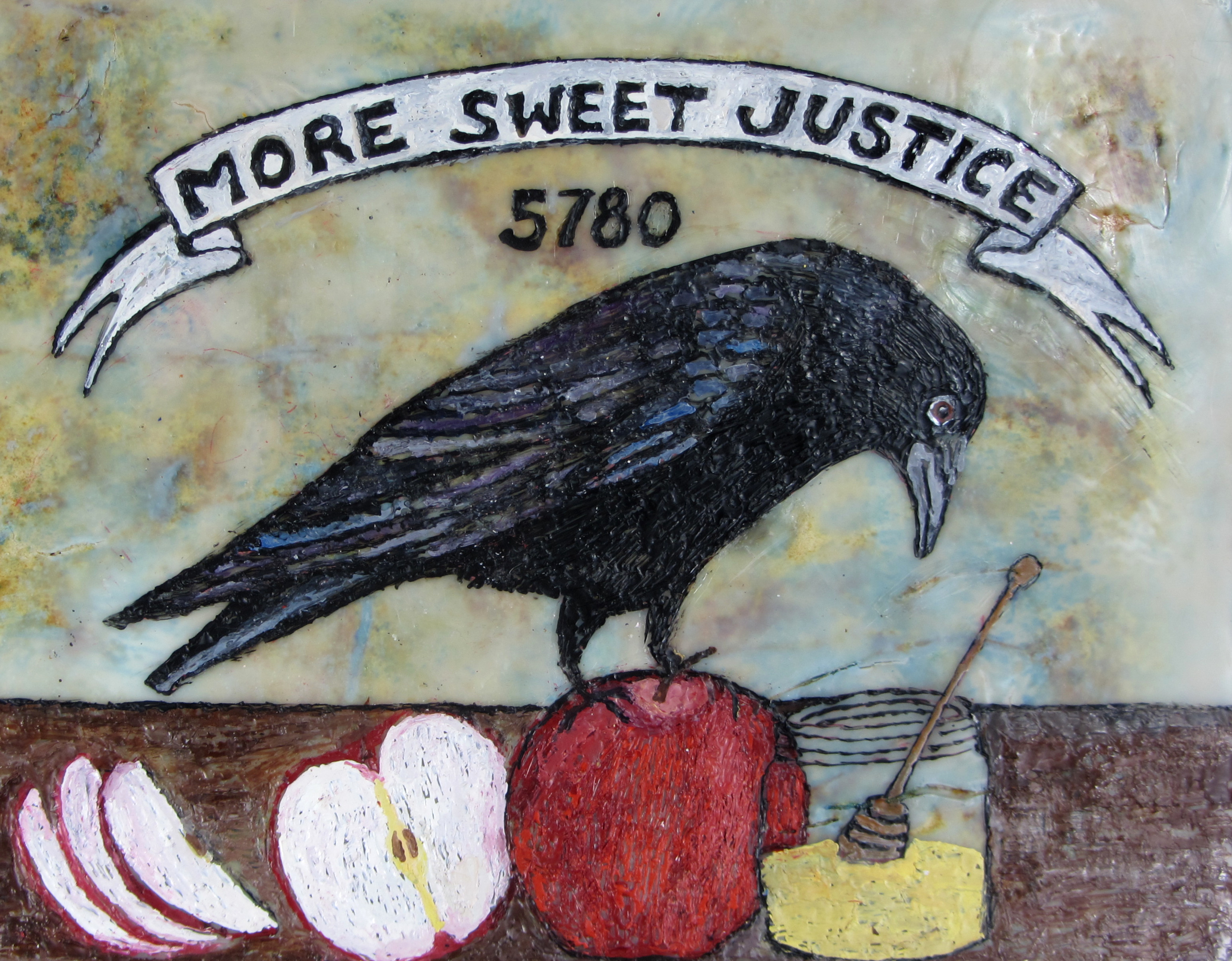 "The cover image of the 5780 Radical Jewish Calendar, featuring the text ""More Sweet Justice 5780"" over a painting of a black bird perched on tables, looking at honey."