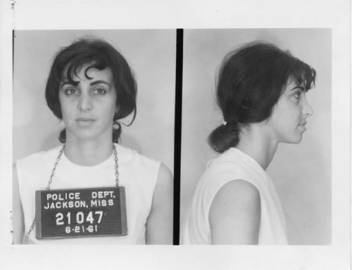 Image taken of Judith Frieze after her arrest in Jackson, Mississippi on June 21, 1961. Mississippi Department of Archives and History.
