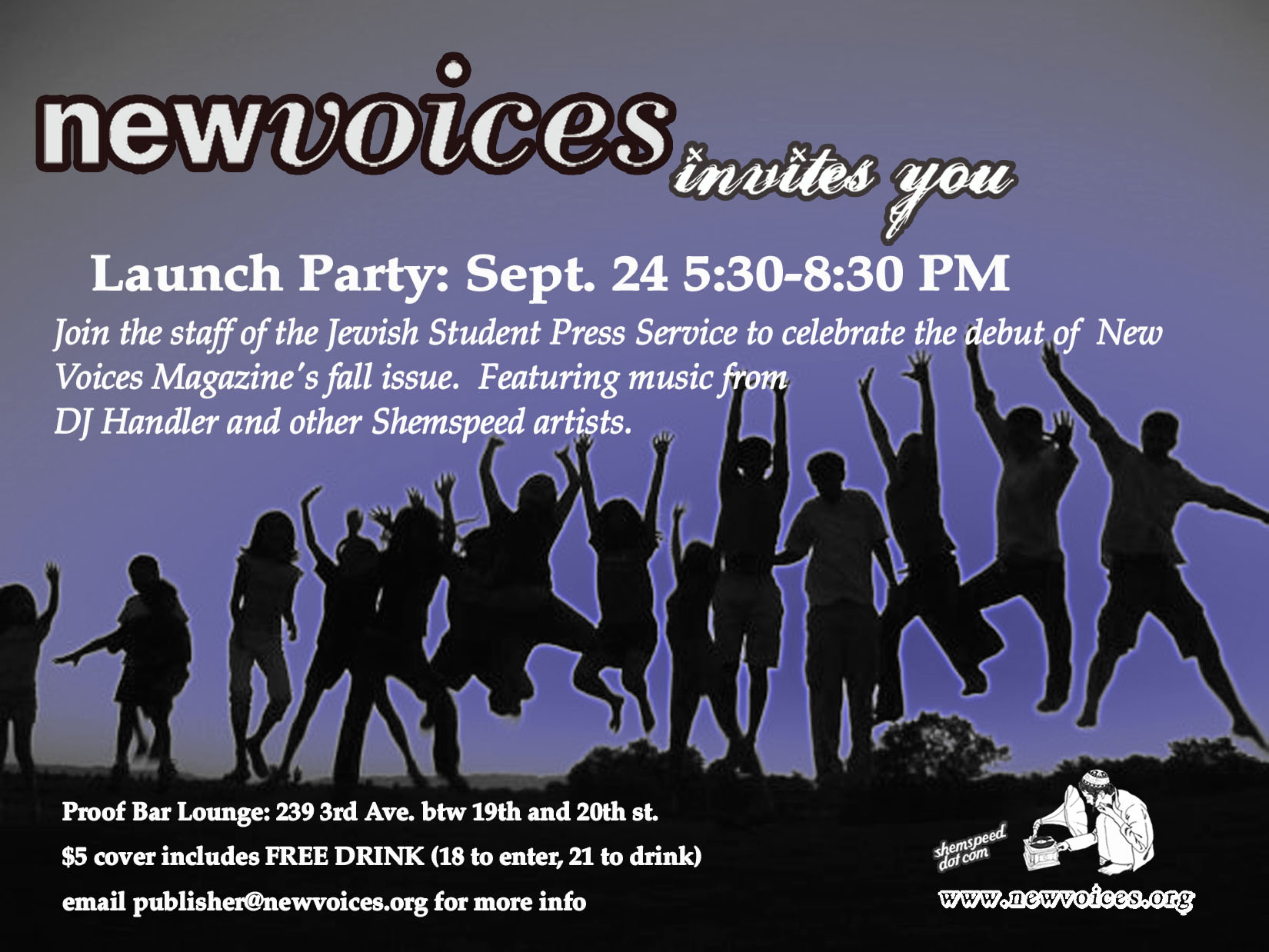 New Voices launch flyer