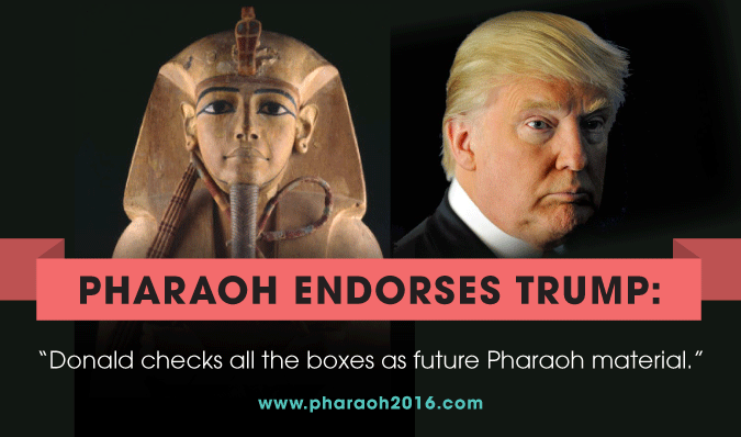 "Image from Bend the Arc Jewish Action campaign ""Pharoah endorses Trump"" from 2016"