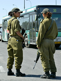 women soldiers at a checkpoint (REUTERS/Gil Cohen Magen)