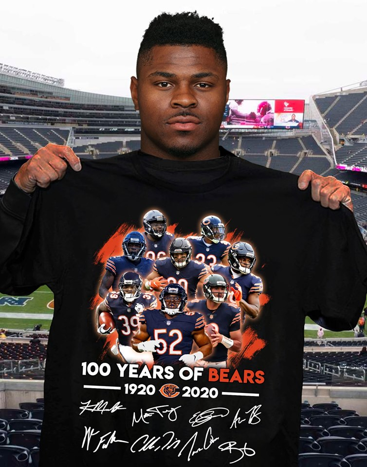 100 Years Of Chicago Bears 1920 2020 Signed cotton t-shirt Hoodie Mug