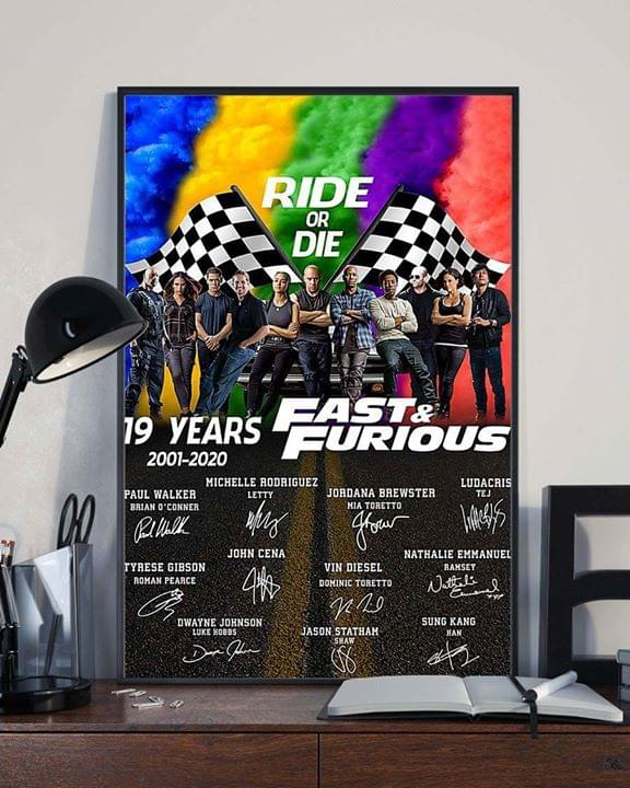 19 Years Of Fast And Furious Ride Or Die Actors Signature For Fan Poster poster canvas