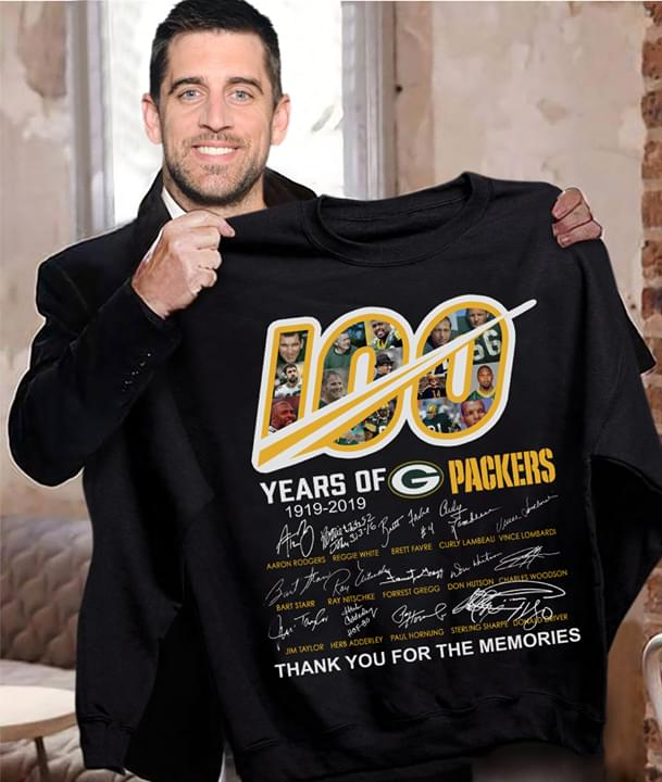 100 Years Of Green Bay Packers 1919 2019 All Players Signatures Thank You For Memories cotton t-shirt Hoodie Mug