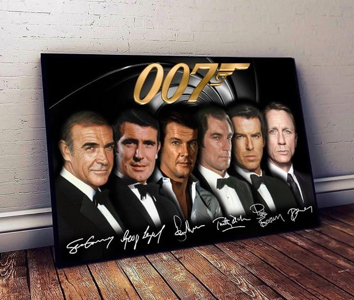 007 James Bond Agent All Casts Signatures For Fan Poster Canvas