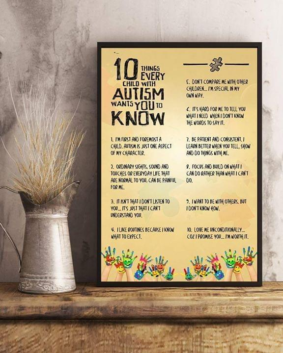 10 Things Every Child With Autism Want You To Know Poster Canvas