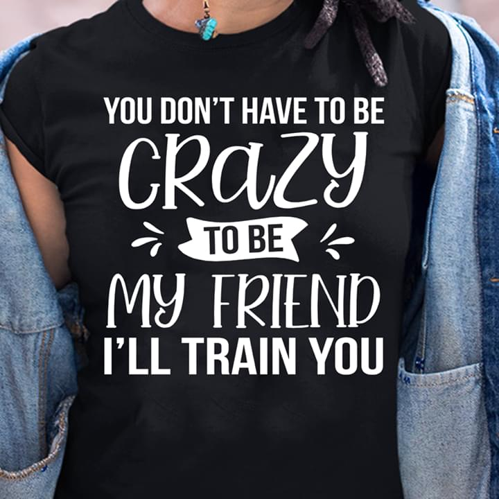 You Dont Have To Be Crazy To Be My Friend Ill Train You Funny T Shirt cotton t-shirt Hoodie Mug
