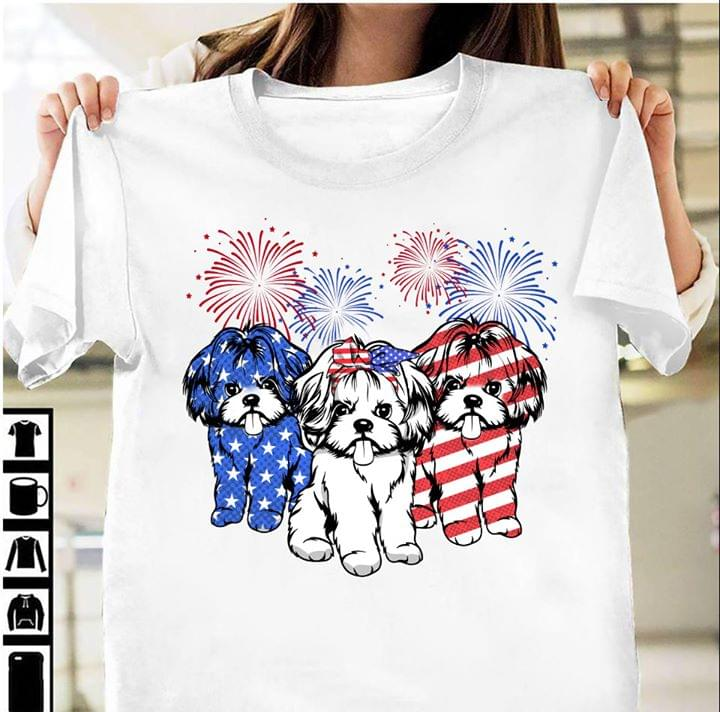 American Shih Tzu Dog Fireworks Happy The Fourth Of July Usa Independence Day T Shirt cotton t-shirt Hoodie Mug