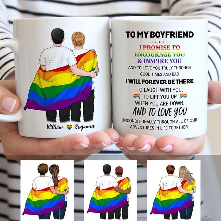 To My Boyfriend I Promise To Encourage You And Inspire You Lgbt Mug cotton t-shirt Hoodie Mug