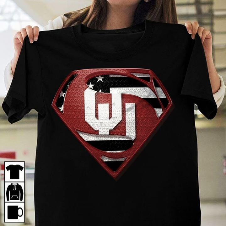 Oklahoma Sooners Superman Logo Us Flag For Fan cotton t-shirt Hoodie Mug