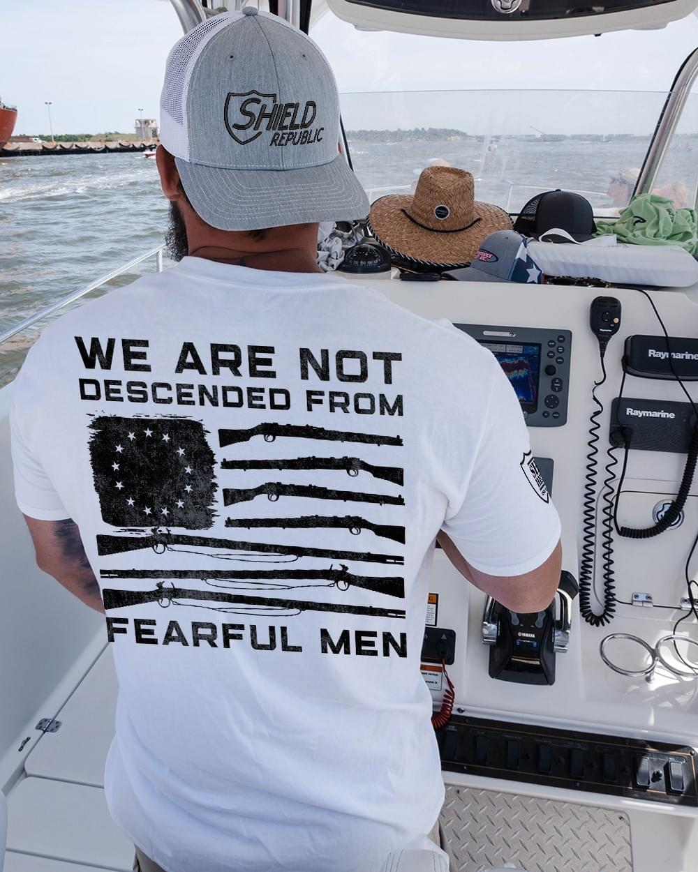 We Are Not Descended From Fearful Men Us Gun Flag cotton t-shirt Hoodie Mug