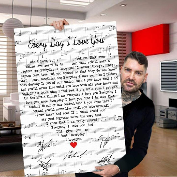Boyzone Members Signature Every Day I Love You Song Lyrics Heart Shape For Fan Poster poster canvas