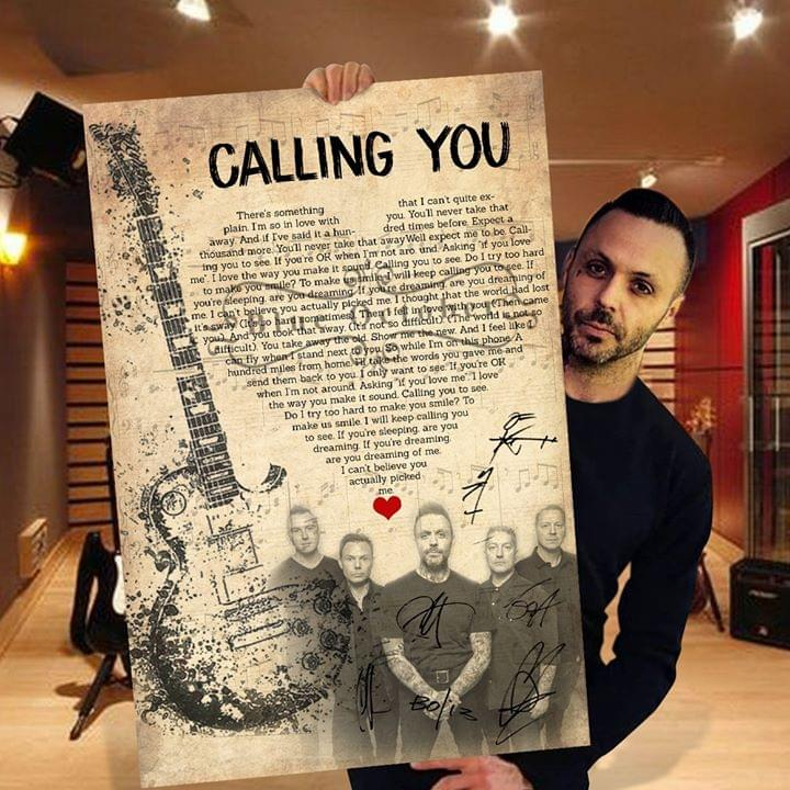 Blue October Members Signature Calling You Song Lyrics Heart Shape For Fan Poster poster canvas