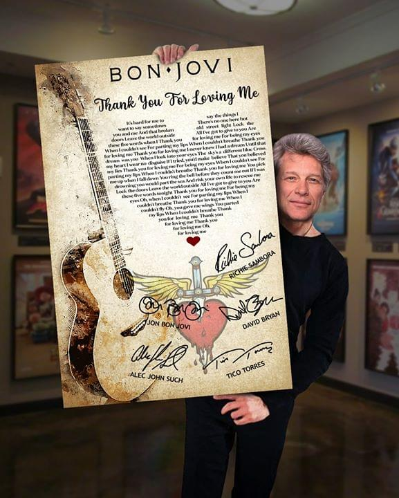 Bon Jovi Members Signature Thank You For Loving Me Song Lyrics Heart Shape For Fan Poster poster canvas