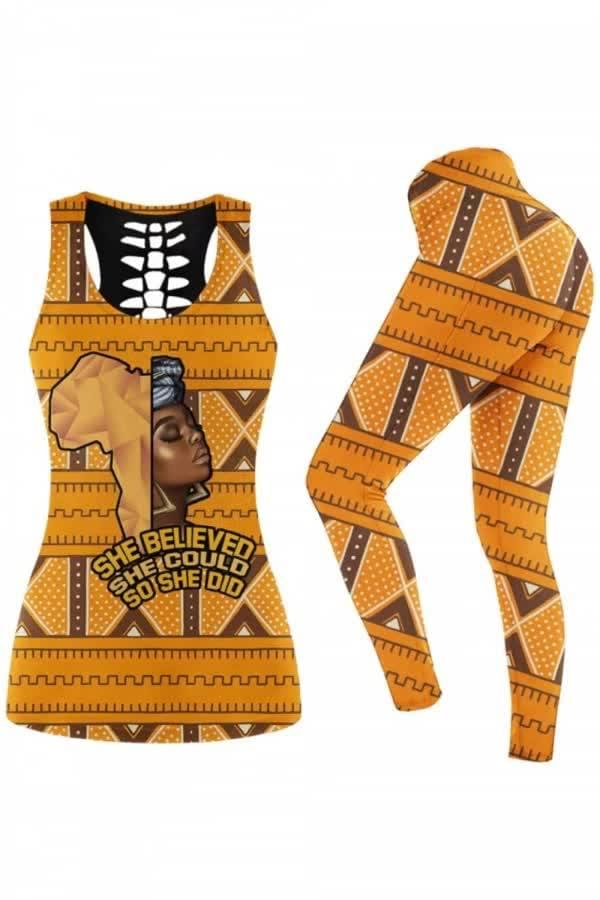 African Woman She Believe She Could So She Did African Culture Style 3d  legging set tanktop