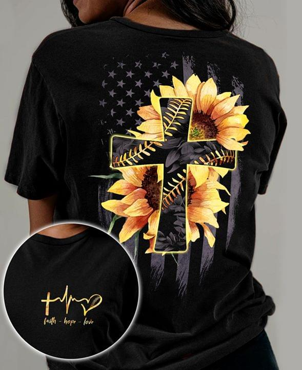 Sunflower American Flag 4th Of July T Shirt cotton t-shirt Hoodie Mug
