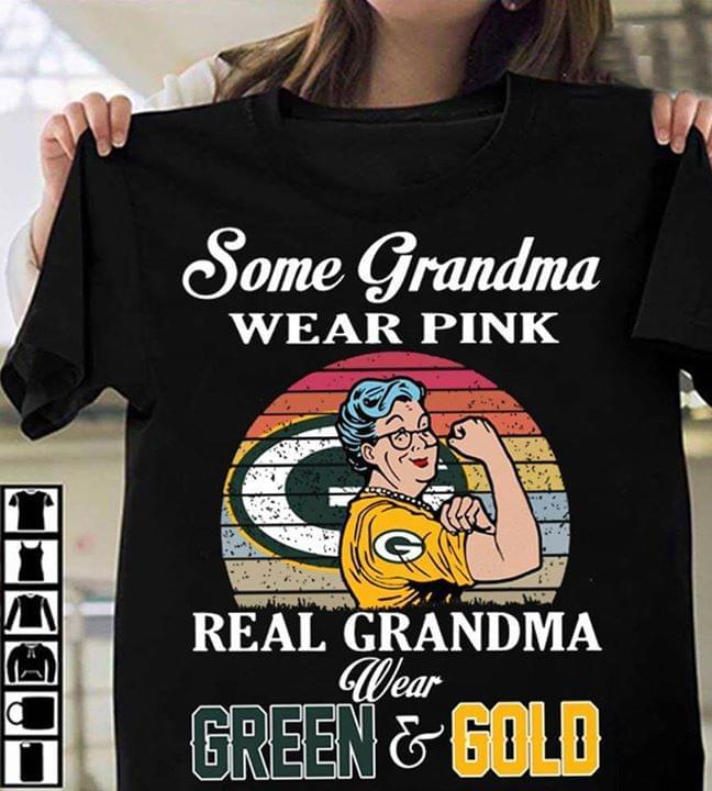 Some Grandma Wear Pink Real Grandma Wear Green Or Gold Vintage Retro T Shirt cotton t-shirt Hoodie Mug