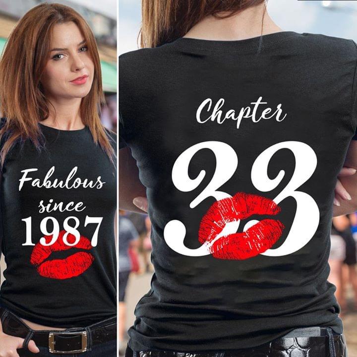 Pretty Fabulous Since 1987 Chapter 33 Lips T Shirt cotton t-shirt Hoodie Mug