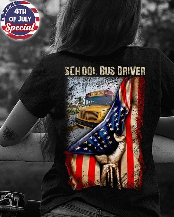 School Bus Driver American Flag Version Cross T Shirt cotton t-shirt Hoodie Mug