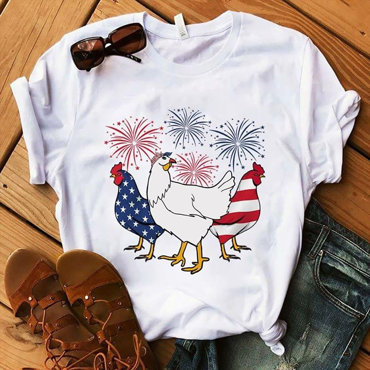 Chicken 4th July Independence Day Firework For Lovers T Shirt cotton t-shirt Hoodie Mug