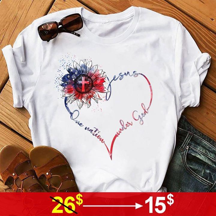 Que Nation Under God Love Jesus Love America Cross With American Flag Heart Shape T Shirt cotton t-shirt Hoodie Mug