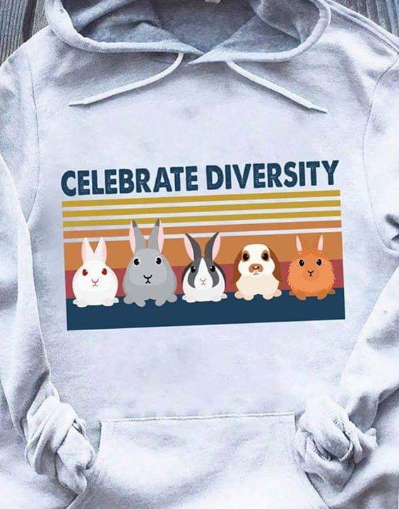 Official Celebrate Diversity Rabbit Hamrster Animals Vintage Retro cotton t-shirt Hoodie Mug