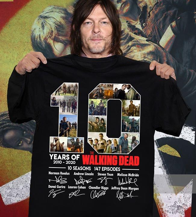 10 Years Of Walking Dead 10 Seasons 147 Episodes All Cast Signature For Fan cotton t-shirt Hoodie Mug