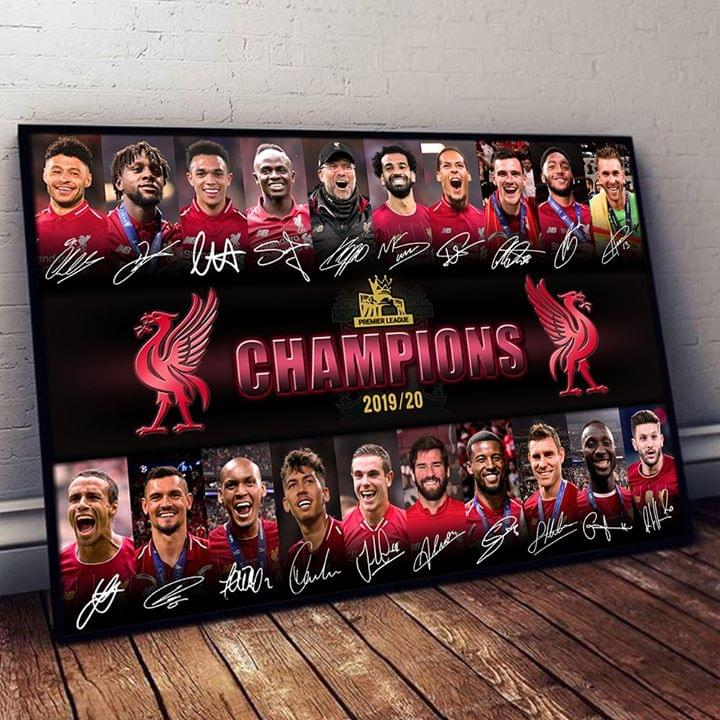 Liverpool Champions Premier League Players Signatures For The Kop Poster poster canvas ...