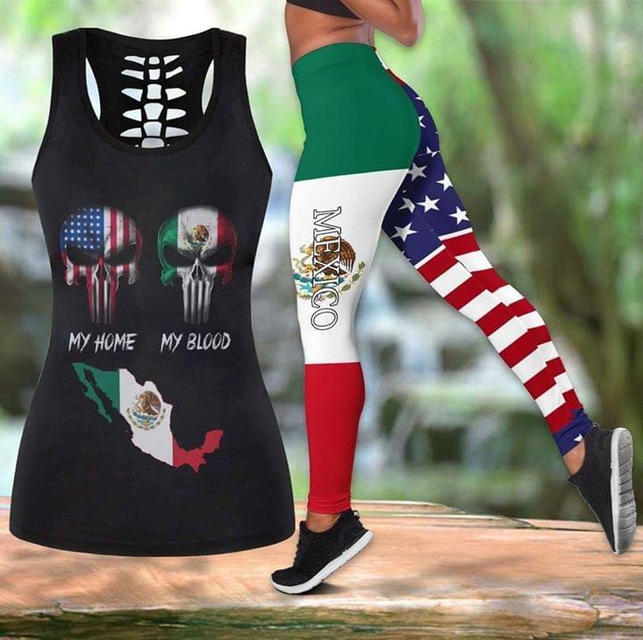 America My Home Mexico My Blood Skull 3d Printed Yoga Set 3d shirt hoodie sweatshirt