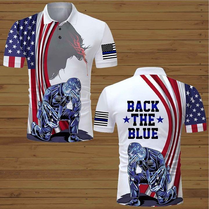 Back The Blue Police Officer American Flag Jesus 3d Printed T Shirt 3d shirt hoodie sweatshirt