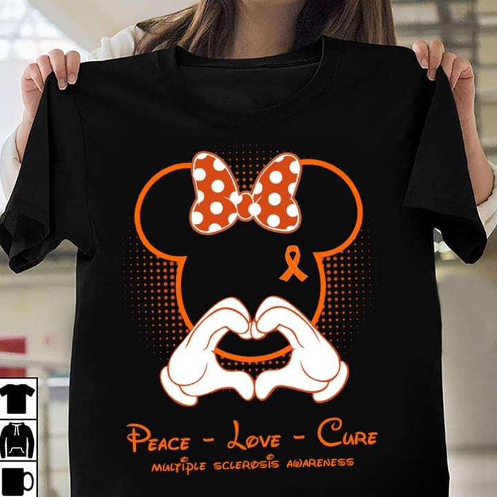 Mickey Mouse Peace Love Multiple Sclerosis Awareness cotton t-shirt Hoodie Mug