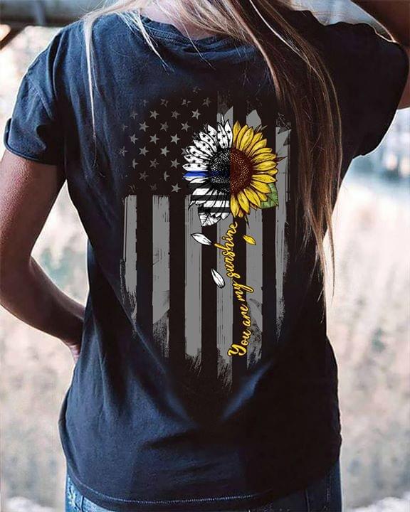 Sunflower Us Flag You Are My Sunshine cotton t-shirt Hoodie Mug